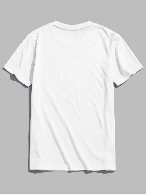 buy Feather Print Short Sleeves Casual T-shirt - WHITE L Mobile