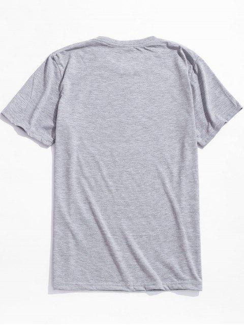 Camiseta Casual Estampado Pluma Manga Corta - Nube Gris L Mobile