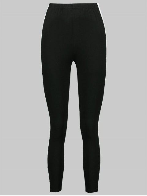 Color block flaco leggings de gimnasio - Negro S Mobile