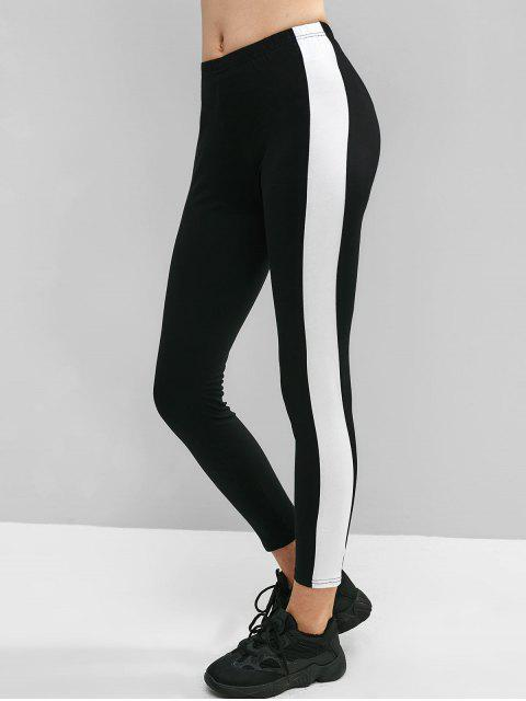 Color block flaco leggings de gimnasio - Negro L Mobile