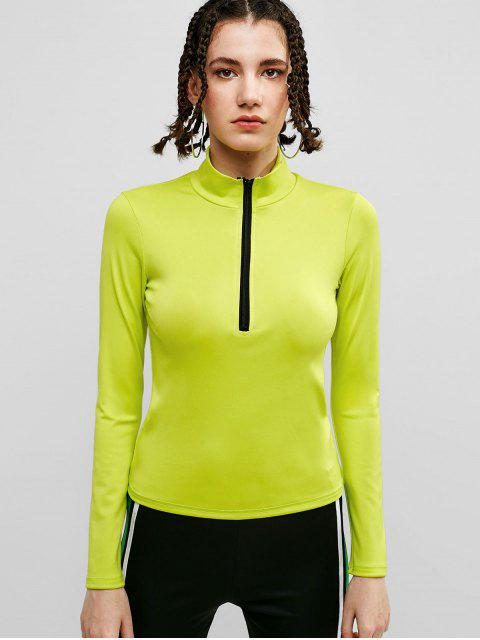 ZAFUL media cremallera soporte cuello camiseta - Té Verde M Mobile