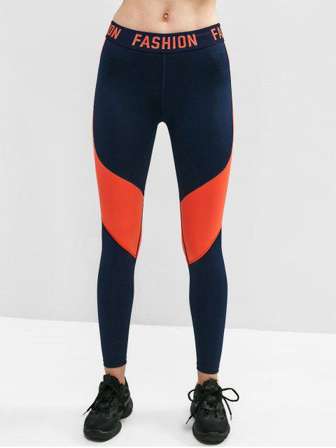 FASHION Graphic Color Block Leggings - Azul de Medianoche M Mobile