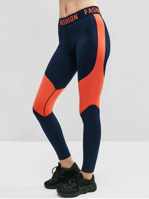 FASHION Graphic Color Block Leggings - Azul de Medianoche L Mobile
