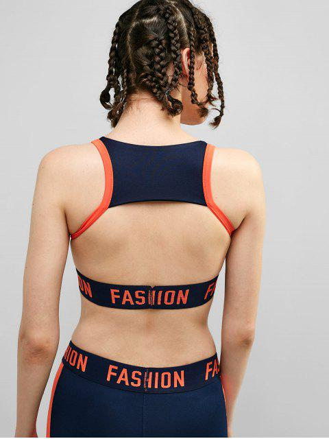 affordable Graphic Cut Out Front Zipper Gym Bra - MIDNIGHT BLUE L Mobile