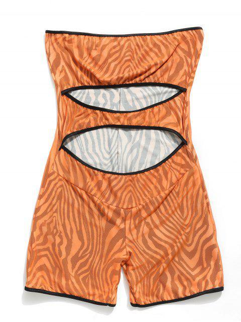 outfits Cut Out Mesh Zebra Bandeau Romper - SANDY BROWN S Mobile