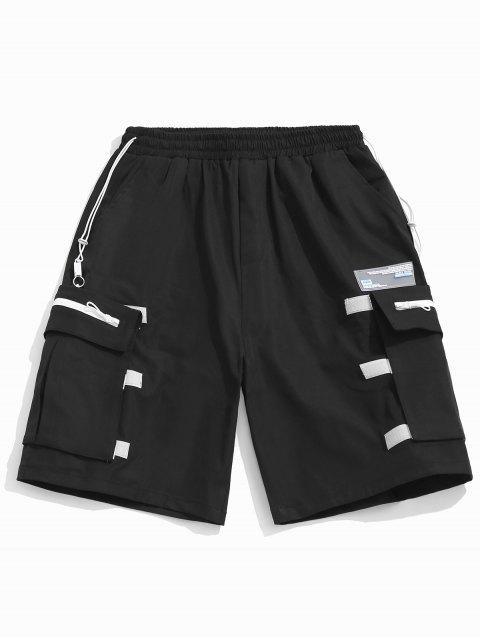 Desmontable bolsillo elástico pantalones cortos casuales - Negro L Mobile