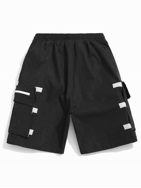 Desmontable bolsillo elástico pantalones cortos casuales - Negro XL Mobile