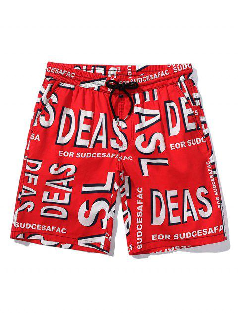 unique Letters Printed Drawstring Beach Shorts - RED L Mobile