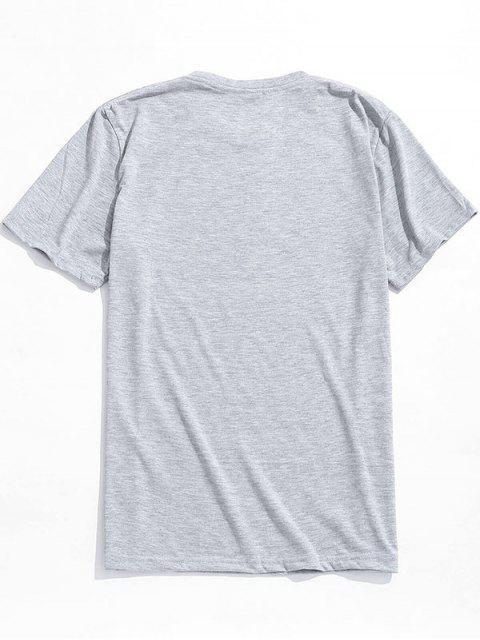 online Alien Pattern Print Short Sleeves T-shirt - GRAY CLOUD L Mobile