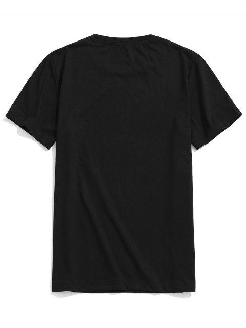 outfits Tropical Plant Letters Print Beach T-shirt - BLACK L Mobile