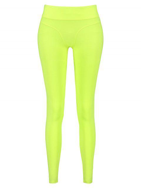 Leggings deportivos de neón de tiro medio - Verde de Pistacho S Mobile