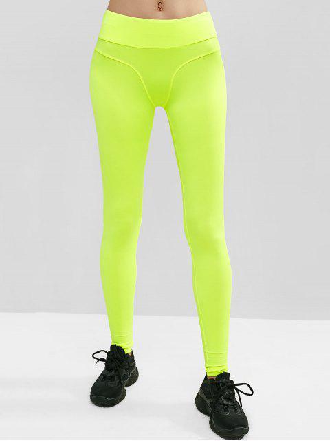 Leggings deportivos de neón de tiro medio - Verde de Pistacho M Mobile
