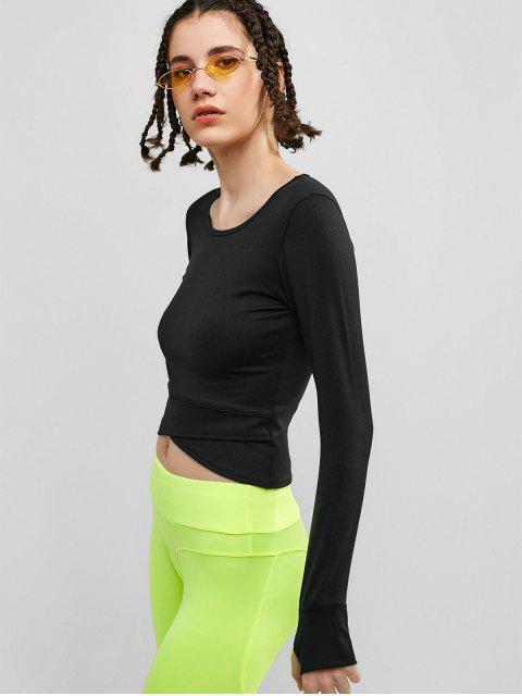 Camiseta con estampado de pulgar para el agujero del tulipán - Negro S Mobile