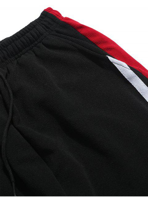 new Color Block Panel Drawstring Jogger Pants - RED L Mobile