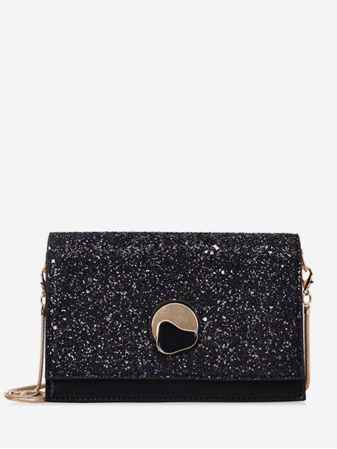fancy Glitter Chain Flap Crossbody Bag - BLACK  Mobile