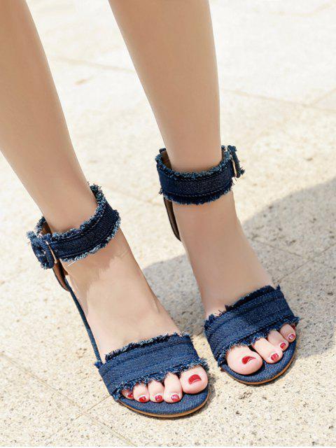 online Ripped Denim Buckled High Heel Sandals - DENIM DARK BLUE EU 40 Mobile