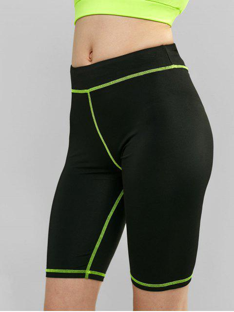 Shorts de ciclista de gimnasia elástica ajustados - Negro S Mobile