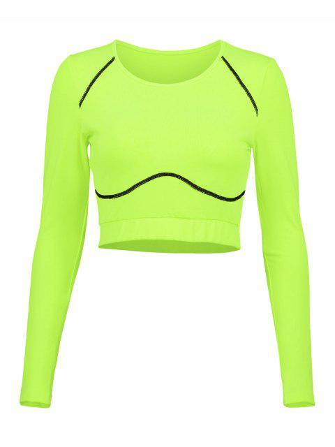 Camiseta de manga larga de neón para gimnasio - Verde de Pistacho S Mobile