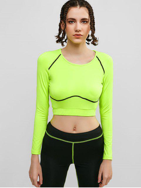 Camiseta de manga larga de neón para gimnasio - Verde de Pistacho M Mobile