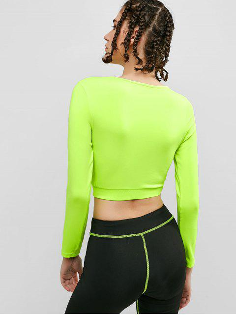 Camiseta de manga larga de neón para gimnasio - Verde de Pistacho L Mobile