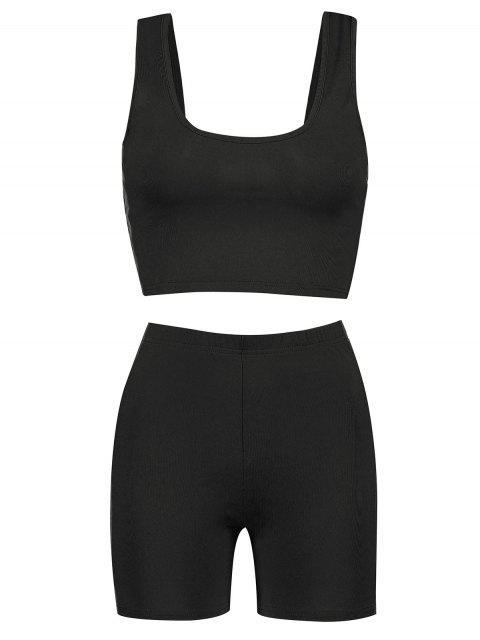 Conjunto de top y pantalones cortos reflectantes en forma de U para gimnasio - Negro S Mobile
