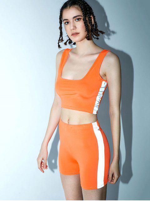 Conjunto de top y pantalones cortos reflectantes en forma de U para gimnasio - Mango Naranja S Mobile