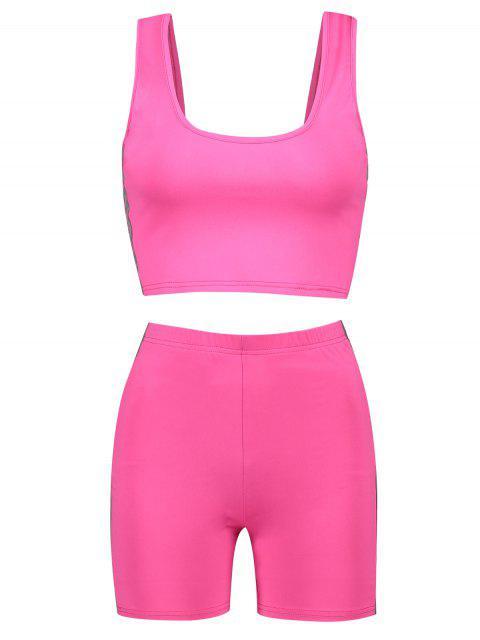 Conjunto de top y pantalones cortos reflectantes en forma de U para gimnasio - Rosa Roja M Mobile