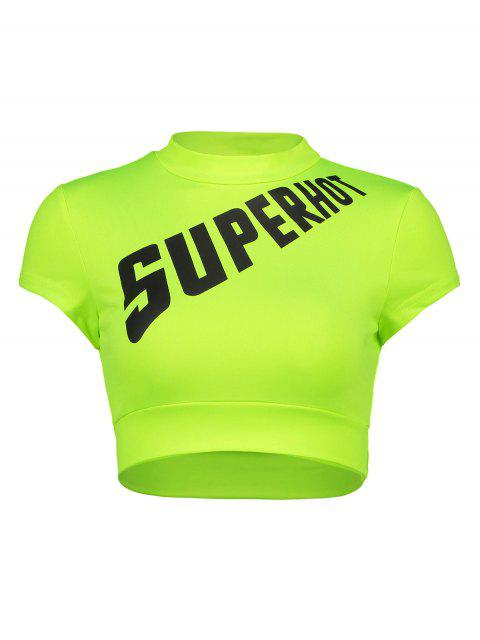 trendy Crew Neck Neon Graphic Crop Gym Tee - PISTACHIO GREEN L Mobile