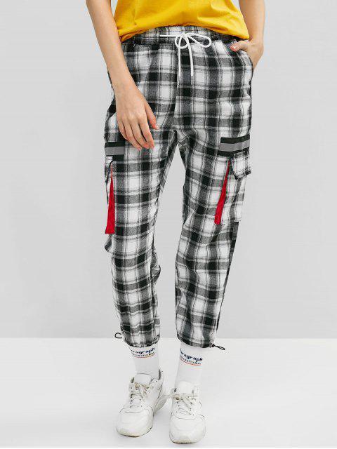 affordable Reflective Plaid Drawstring Gym Jogger Pants - BLACK XL Mobile