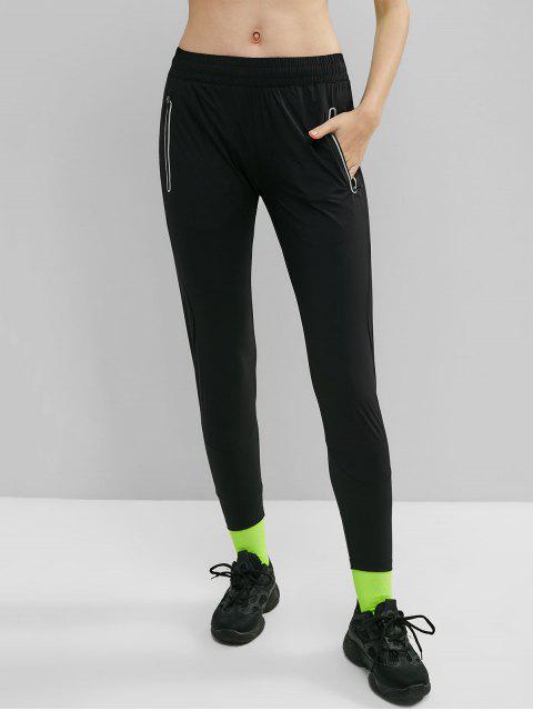 Pantalones reflectantes con cremallera bolsillo gimnasio - Negro L Mobile