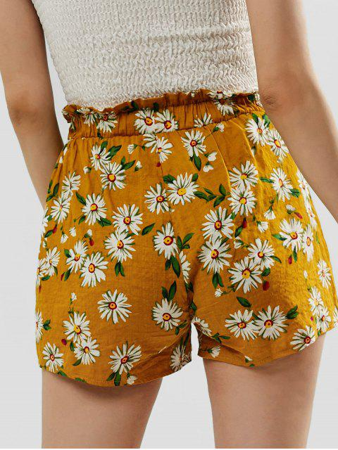 new ZAFUL Frilled High Waisted Floral Shorts - BEE YELLOW L Mobile