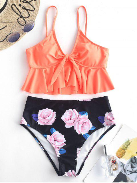 fancy ZAFUL Floral Ruffle Neon Tankini Set - PUMPKIN ORANGE M Mobile