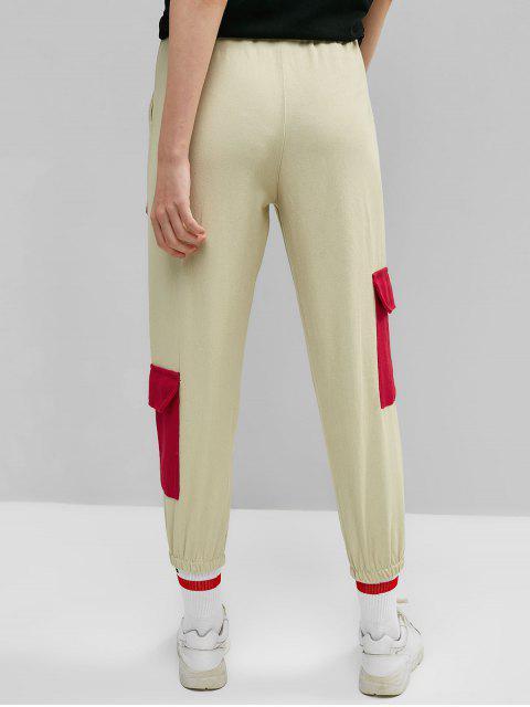 fashion Color Block Drawstring Cargo Jogger Pants - LIGHT KHAKI XL Mobile