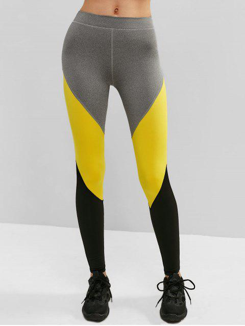 Leggings deportivos atléticos color block gym - Caucho Ducky Amarillo M Mobile