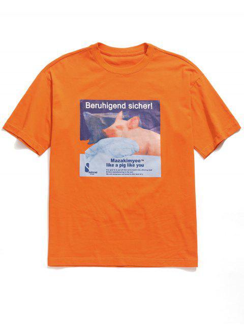 Camiseta boyfriend con gráfico de algodón y gráfico de cerdo - Mango Naranja L Mobile