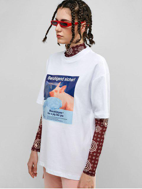 Camiseta boyfriend con gráfico de algodón y gráfico de cerdo - Blanco L Mobile