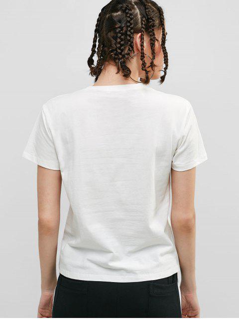 Camiseta Casual Camiseta Manga Corta Gráfica - Blanco M Mobile