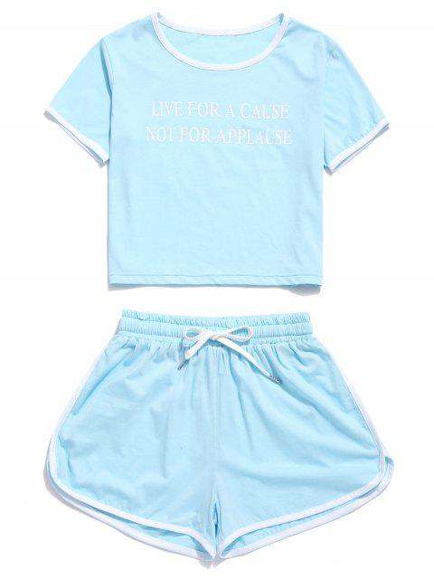 ZAFUL Letter Graphic Ringer Shorts Set - Azul Pálido M Mobile