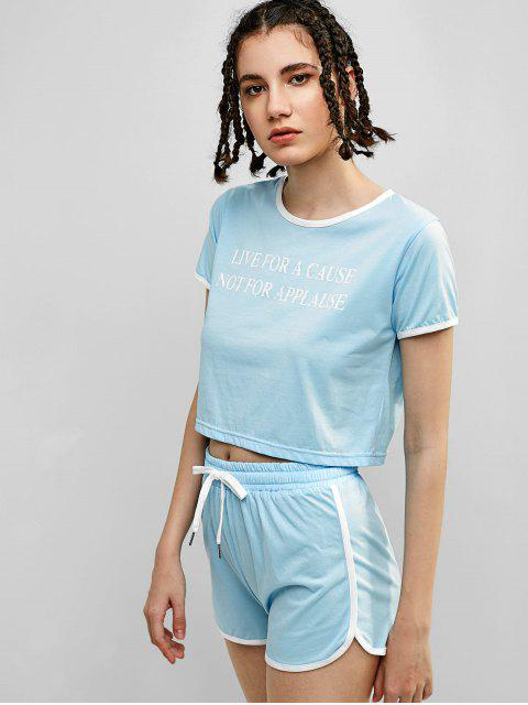 ZAFUL Letter Graphic Ringer Shorts Set - Azul Pálido S Mobile