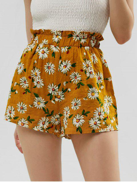 outfits ZAFUL Frilled High Waisted Floral Shorts - BEE YELLOW S Mobile