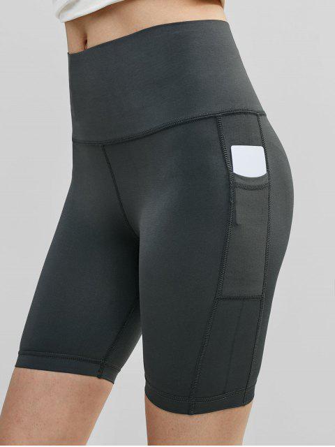 Gimnasio de cintura ancha bolsillo Biker Shorts - Gris de Acorazado M Mobile