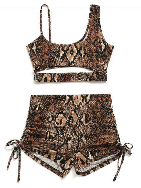 Conjunto de pantalones cortos y top con estampado de serpiente elástico - Multicolor L Mobile