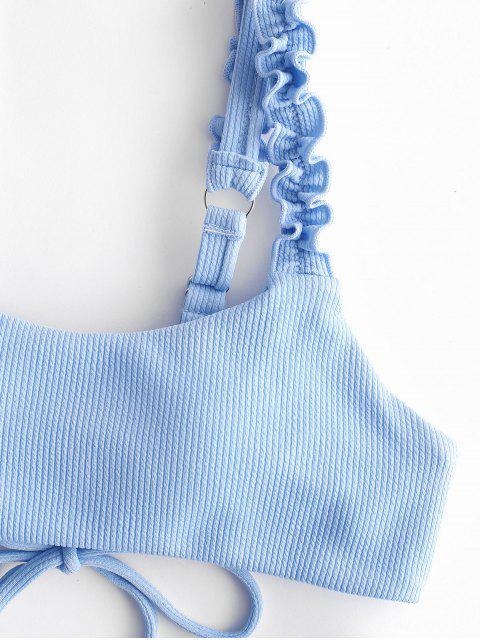 sale ZAFUL Ribbed Lace Up Lettuce Strap Bikini Set - LIGHT SKY BLUE S Mobile