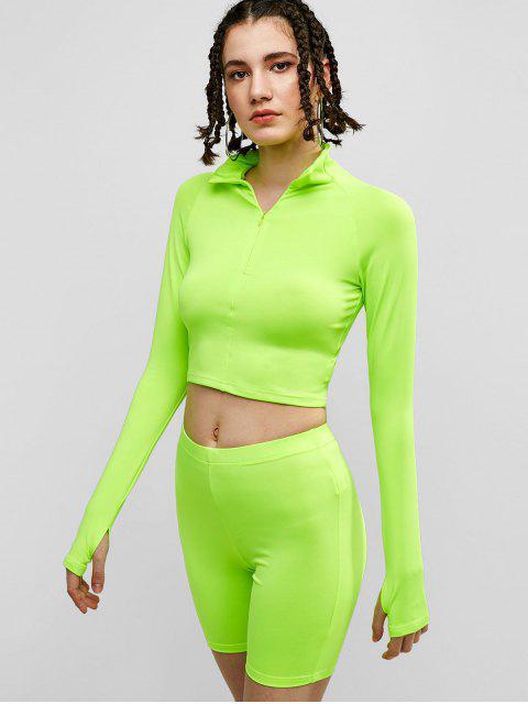 Conjunto de camiseta con cremallera y pantalones cortos de ciclista de Neon Gym - Verde Amarillo M Mobile