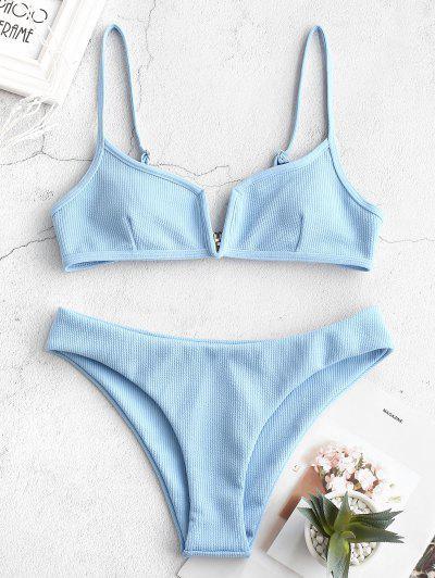 f08c3b4ba7a ZAFUL Ribbed V Wired Cami Bikini Set - Light Sky Blue M ...
