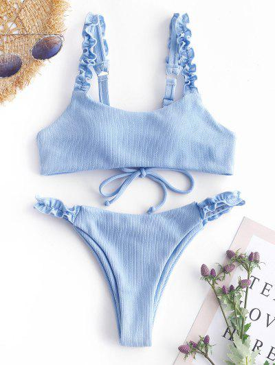ZAFUL Ribbed Lace Up Lettuce Strap Bikini Set - Light Sky Blue S