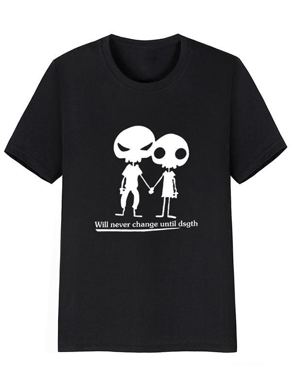 Alien Pattern Print Short Sleeves T-shirt, Black