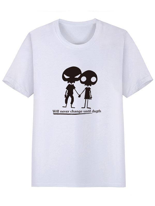 Alien Pattern Print Short Sleeves T-shirt, White