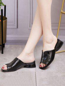 434ab973b2d Patent Leather Chunky Heel Slippers  Patent Leather Chunky Heel Slippers ...