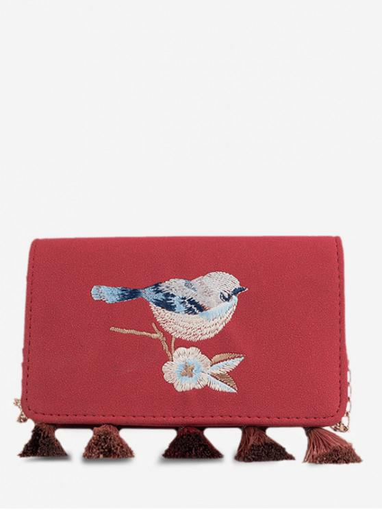 Bolso de bandolera con solapa bordada con borla de pájaro - Vino Tinto